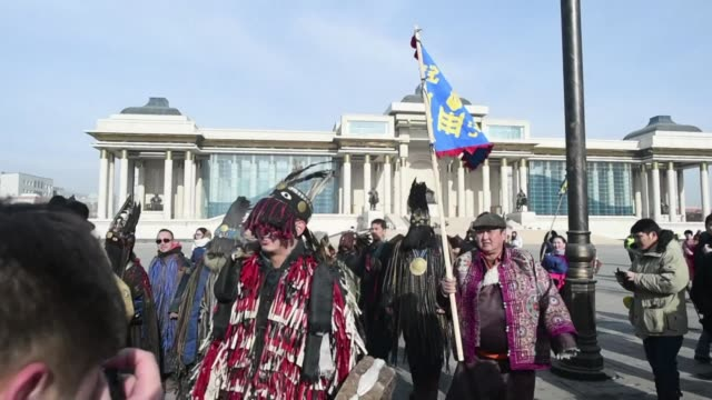 mongolian shamans in fur and feather headdresses are angry at a canadian mining project they say threatens ancient grave sites - independent mongolia stock videos & royalty-free footage