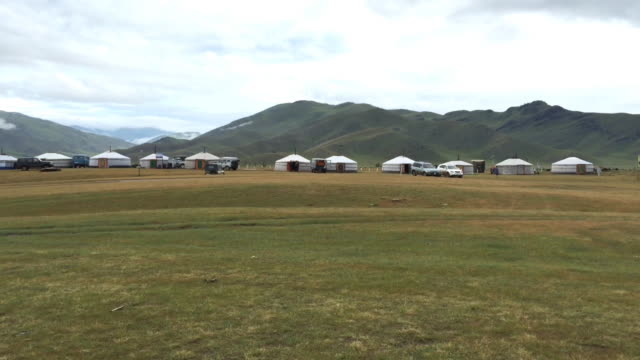 Mongolian yurts at Orkhon Valley Cultural Landscape in Mongolia