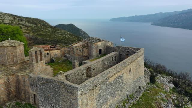 vidéos et rushes de moni sotiros chursh and fortress at mani peninsula near kotronas - vestige antique