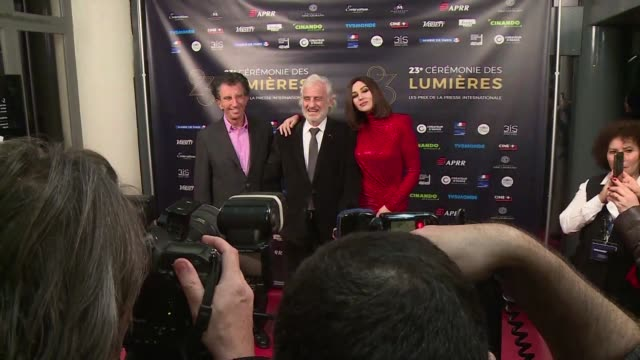 monica bellucci and juliette binoche were among the stars to grace the red carpet at the lumieres festival of french cinema on monday night - juliette binoche stock videos & royalty-free footage