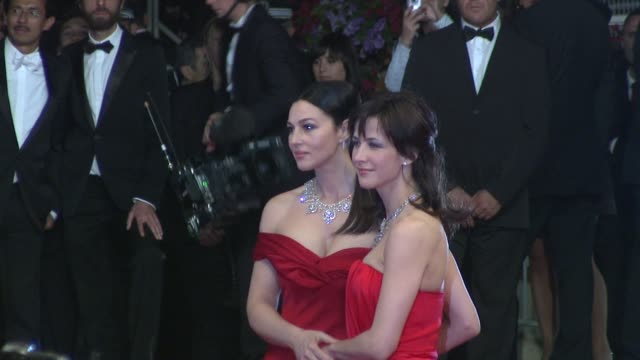 monica bellucci and sophia marceau at the cannes film festival 2009: don't look back press conference at cannes . - cannes stock videos & royalty-free footage