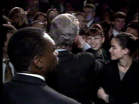/ monica lewinsky smiling enthusiastically at bill clinton and then hugging him at a democratic fundraiser bill clinton hugs monica lewinsky at a... - bill clinton stock videos & royalty-free footage
