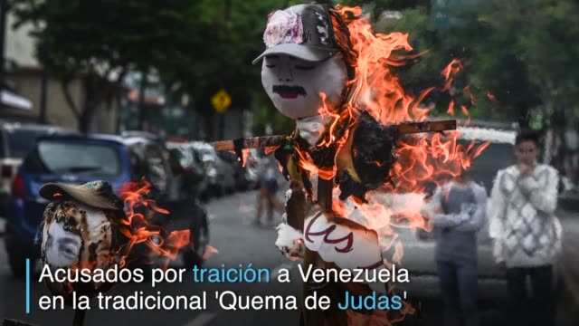 vídeos y material grabado en eventos de stock de monigotes del presidente nicolas maduro y otras figuras del chavismo asi como de dirigentes opositores y lideres extranjeros ardieron el fin de... - semana santa