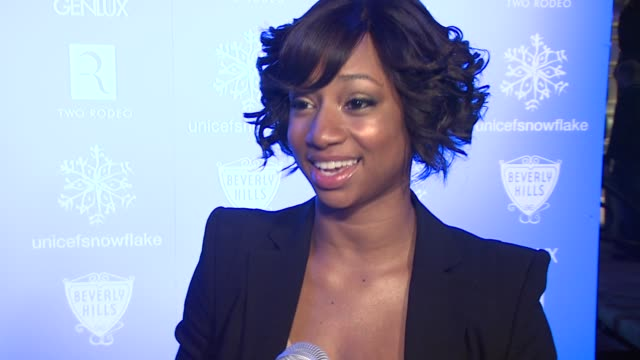 monique coleman on being here for unicef, on why people should donate to unicef. at the unicef supporter monique coleman to light the unicef... - monique coleman stock videos & royalty-free footage