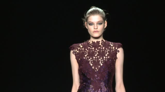 clean monique lhuillier fall 2015 mercedesbenz fashion week at the theater at lincoln center on february 13 2015 in new york city - event capsule stock videos & royalty-free footage