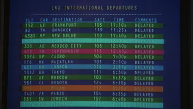 A monitor gives information about flights at an airport.