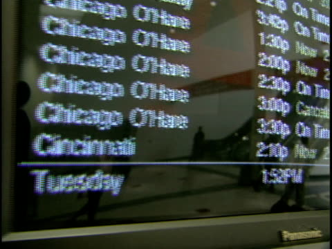 cu, pan, monitor on arrival departure board, fort worth international airport, dallas, texas, usa - dallas fort worth airport stock videos & royalty-free footage