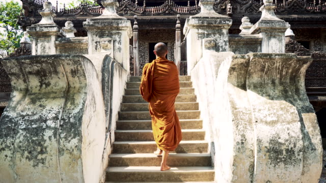 monk in temple - buddhism stock videos & royalty-free footage