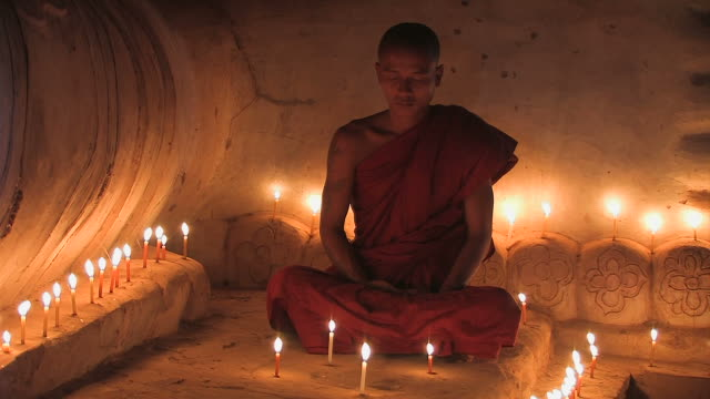 monk - liegender_buddha5 - candle stock videos & royalty-free footage