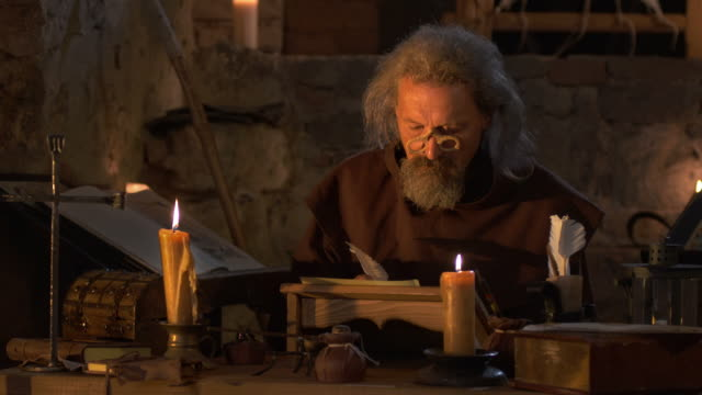 HD: Monk Writing With A Quill Pen