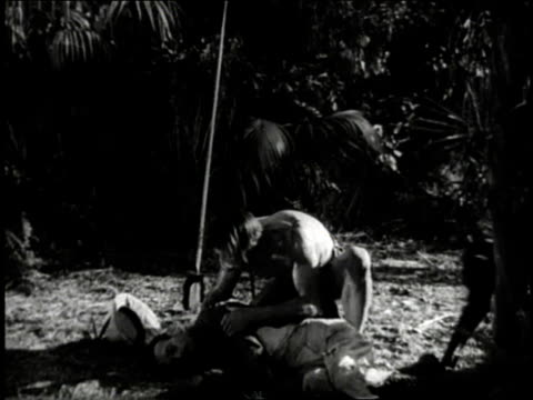 vídeos y material grabado en eventos de stock de reenactment monkey jumps down from tree and joins a jungle man and others to help a man injured by a lion  - tarzán obra reconocida