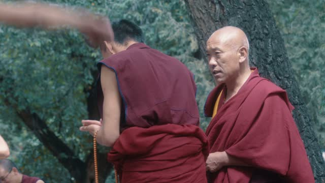 monks debating at sera monastery, lhasa, tibet - cross legged stock videos & royalty-free footage