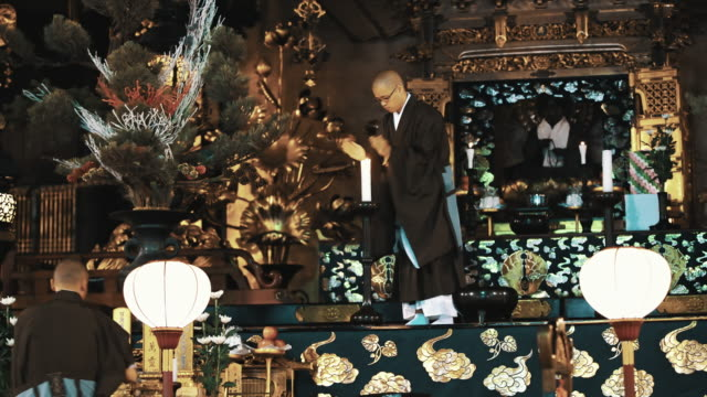 ls monks in a temple of shingon buddhism - shrine stock videos & royalty-free footage