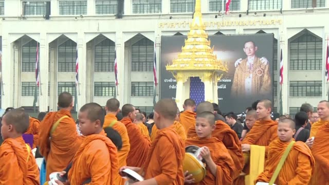 monks lead sombre ceremonies across thailand to mark one year since the death of king bhumibol adulyadej as the grieving nation prepares to bid a... - king of thailand stock videos and b-roll footage