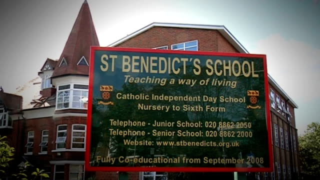 monks no longer allowed to run st benedict's school where children were abused t02100945 london ealing st benedict's school sign 'st benedict's... - spire stock videos & royalty-free footage