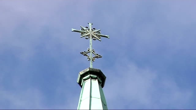 monks no longer allowed to run st benedict's school where children were abused t02100945 low angle shot of cross on top of abbey abbey seen through... - ealing stock videos and b-roll footage