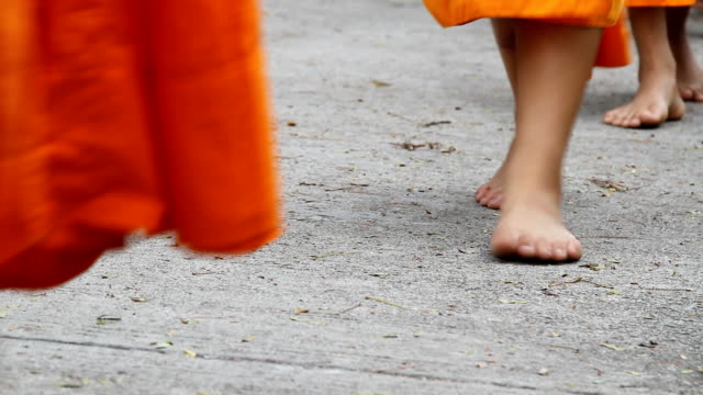 monks walking - barefoot stock videos & royalty-free footage