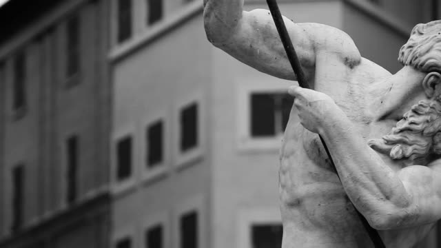 monochrome neptune statue masterpiece in rome - sculpture stock videos & royalty-free footage
