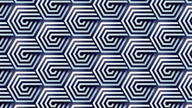 monochrome striped hexagonal geometric pattern. 3d rendering loop animation background. optical illusion backdrop. modern design template element. 4k, uhd - optical illusion stock videos & royalty-free footage