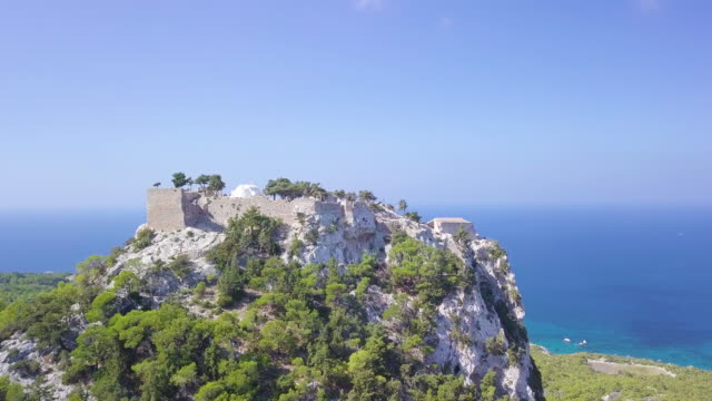monolithos castle - castle island stock videos & royalty-free footage