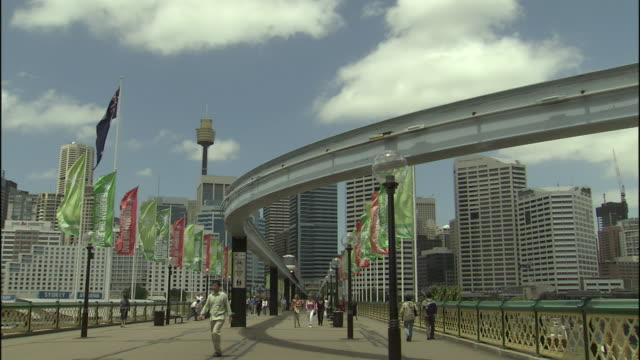 ws la monorail and pyrmont bridge, sydney, new south wales, australia - promenade stock videos & royalty-free footage