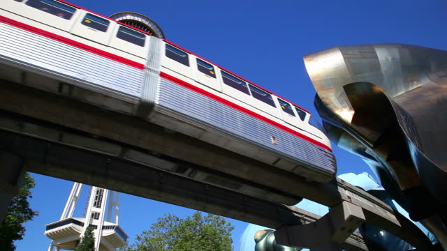 ms la monorail, space needle and experience music project / seattle, washington, usa - monorail stock videos and b-roll footage