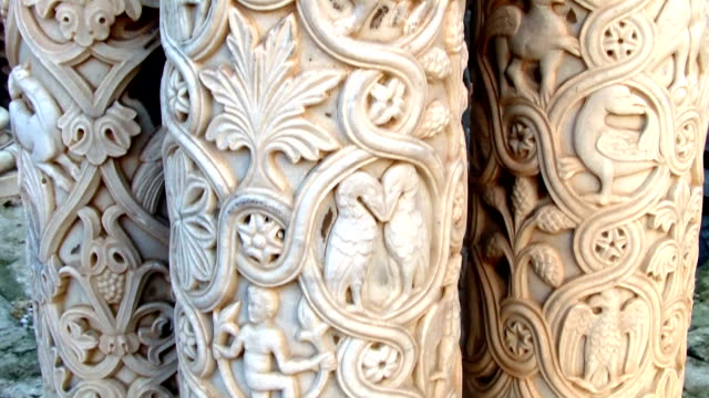 monreale cathedral, bas relief in the cloister. - bas relief stock videos & royalty-free footage