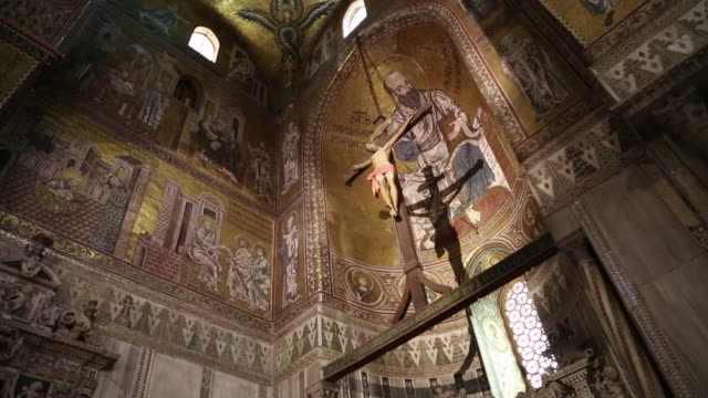 monreale cathedral, interior, the apse with decortions, palermo, sicily. - apse stock videos & royalty-free footage