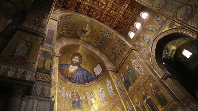monreale cathedral, interior, the dome and ceiling with the mosaic of christ as pantocrator , palermo, sicily. - christianity stock videos & royalty-free footage