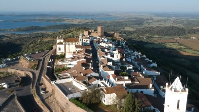 monsaraz from the air, portugal - évora district stock videos & royalty-free footage