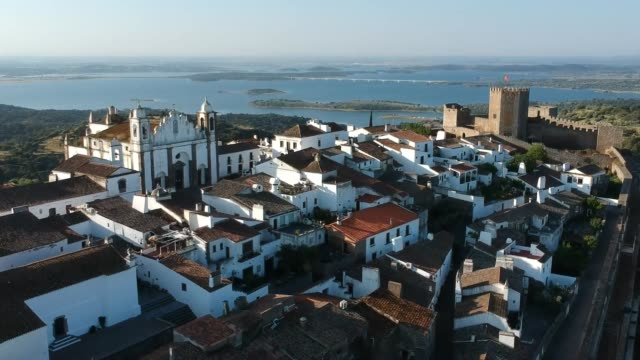 monsaraz old town and river guadiana from the air - évora district stock videos & royalty-free footage