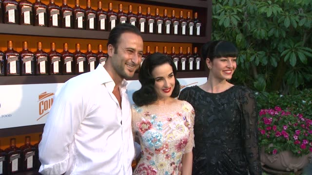 monsieur romeo dita von teese and lada at cointreau and dita von teese launch cointreau poolside soirees in celebration of the beverly hills hotel's... - beverly hills hotel stock videos and b-roll footage