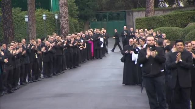 wpix monsignor kevin irwin among other cardinals arrive in rome for the 2013 papal conclave to select pope francis i on march 12 2013 in vatican city... - cardinal clergy stock videos and b-roll footage