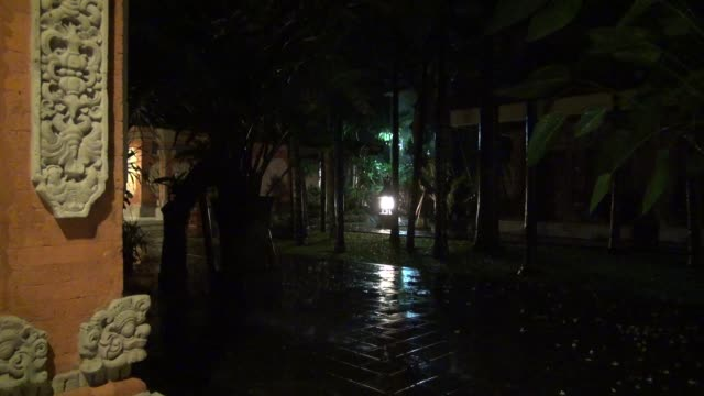 ws monsoon rain falling heavily at night in illuminated balinese garden with frieze on wall to left of shot followed by matching shot next morning - fries säulengebälk stock-videos und b-roll-filmmaterial