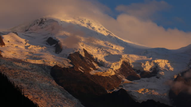 mont blanc sunset from chamonix - mont blanc stock videos & royalty-free footage