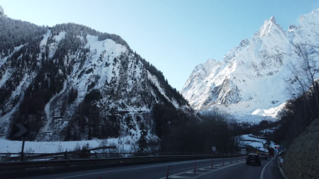 mont blanc - the tunnel in italy, car drivin pov - mont blanc stock videos & royalty-free footage