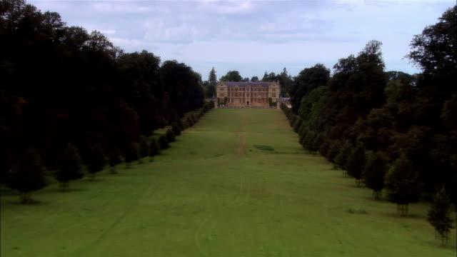 low aerial, montacute house, montacute, dorset, england - elizabeth i of england stock videos & royalty-free footage