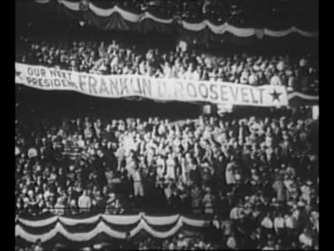 Montage 1932 Democratic National Convention in Chicago IL with delegates holding signs for candidate Franklin Roosevelt and banner 'Our Next...