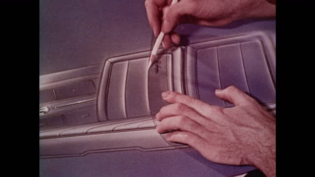 montage:  1963 amc designers crafting a new car - 1963 stock videos & royalty-free footage