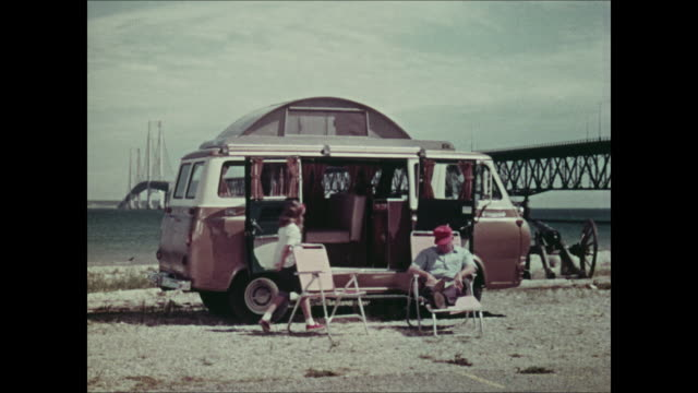montage: 1965 ford econoline camper - 1964 stock videos and b-roll footage