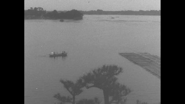 stockvideo's en b-roll-footage met montage ws boat and racks of harvested oysters in water at pearl farm in shima japan / cu strings of lustrous pearls / note exact day not known - parel juwelen