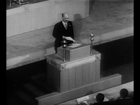 montage british prime minister clement attlee addresses first session of the united nations at central hall westminster / from greatest headlines of... - united nations general assembly stock videos & royalty-free footage
