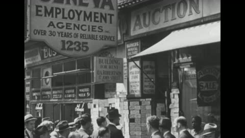 montage crowd of people during the great depression, mostly men, at list of job postings outside employment agency, with job postings / montage men... - great depression stock videos & royalty-free footage