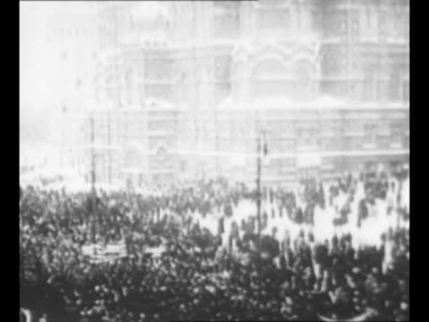 Montage crowds and marching demonstration in Petrograd in 1917 during the Russian Revolution / from Greatest Headlines of the Century series
