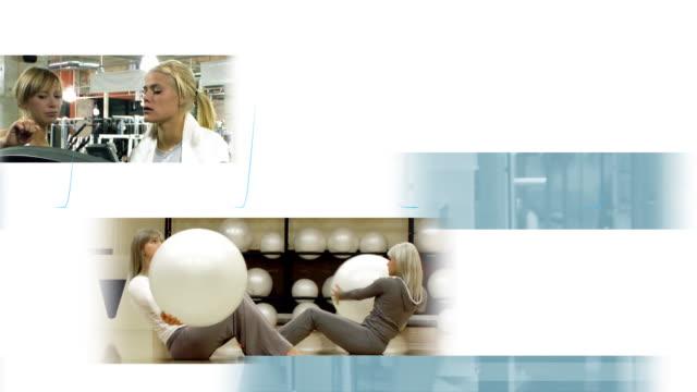 モンタージュエクササイズホワイト - インストラクター点の映像素材/bロール