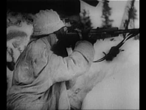 montage finnish soldiers in white uniforms fire gun and rifle in snow / hands lift copies of treaty between finland and soviet union to end winter... - orthographic symbol stock videos & royalty-free footage