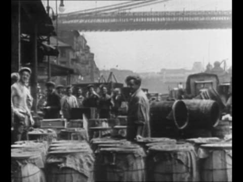 montage fish market on east river waterfront with brooklyn bridge in background / ls down street of east side of nyc / 1927 car approaches on snowy... - 1928 stock videos & royalty-free footage
