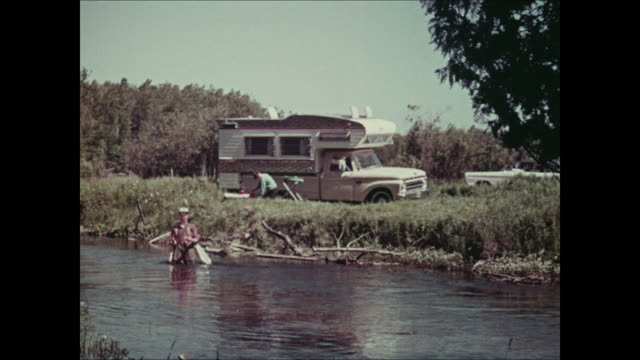 Montage: fishing with 1965 Ford pickup truck camper