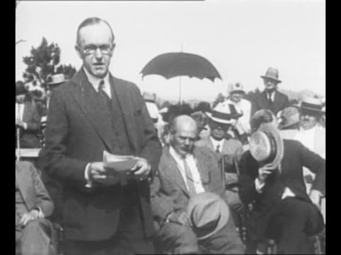 montage former president calvin coolidge speaks at the dedication of the harding tomb in marion oh as audience looks on/ from greatest headlines of... - coolidge calvin stock videos & royalty-free footage