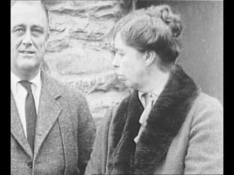Montage Franklin and Eleanor Roosevelt stand outside building / CU Franklin Roosevelt / from Greatest Headlines of the Century series / Note [exact...